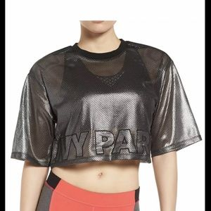 $65 New IVY PARK metallic mesh crop top